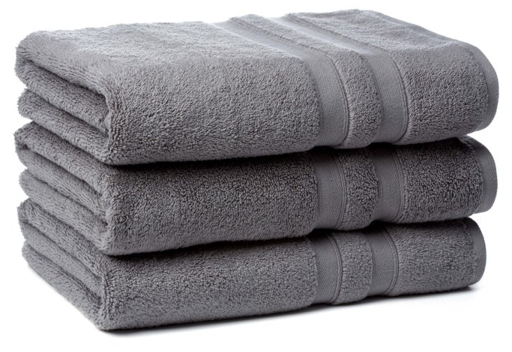 S/3 MicroCotton Bath Towels, Nickel