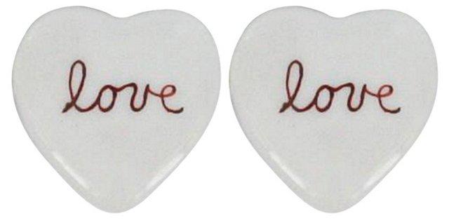 S/2 Mini Petit Love Porcelain Boxes