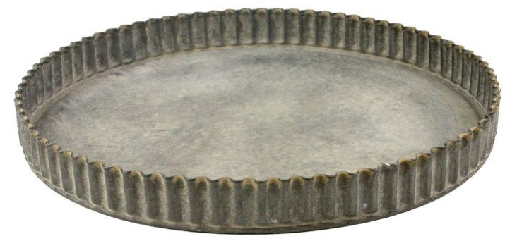 "8"" Ross Fluted Metal Tray, Silver"