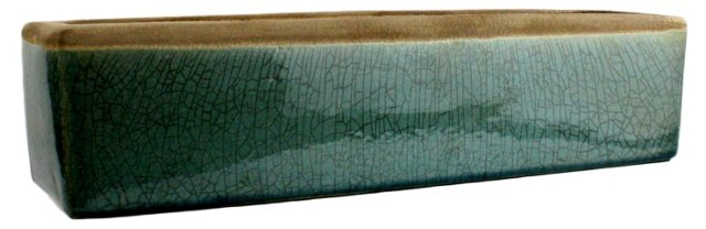 "16"" Ceramic Rectangle Tray, Teal"