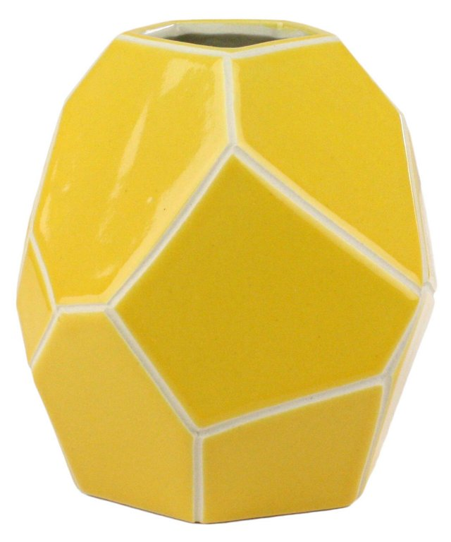 "7"" Faceted Ceramic Vase, Yellow"