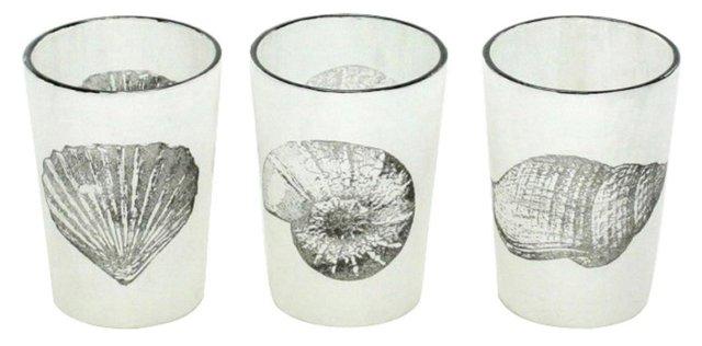 Asst. of 6 Stamped Glass Votives