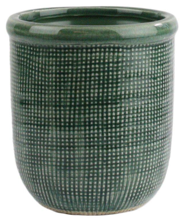 "5"" Ting Ceramic Cachepot, Teal"