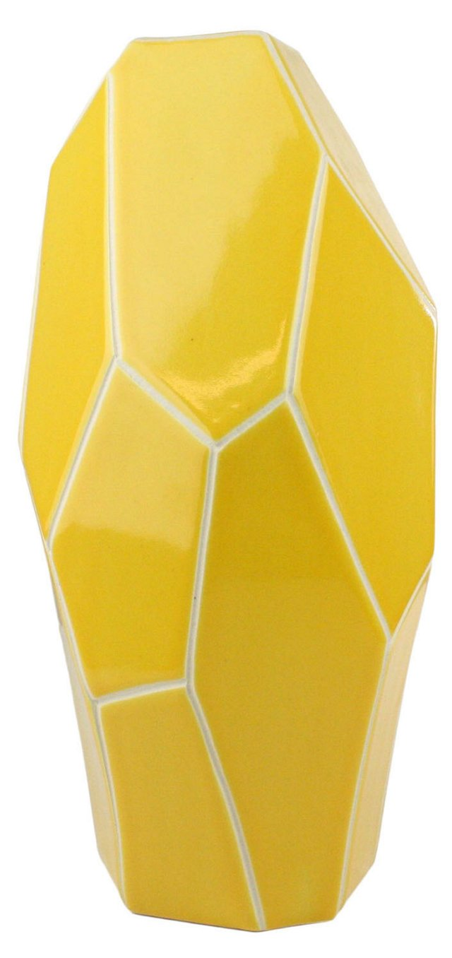 """17"""" Faceted Vase, Yellow"""