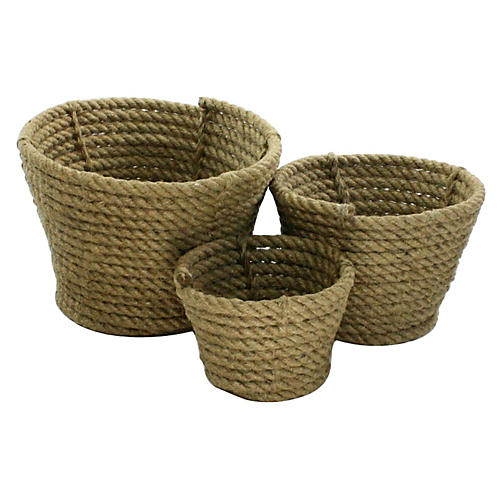 Asst. of 3 Coiled Rope Cachepots, Brown