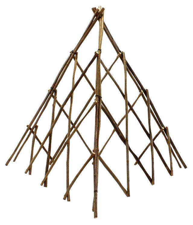 "35"" Pyramid Twig Trellis, Brown"