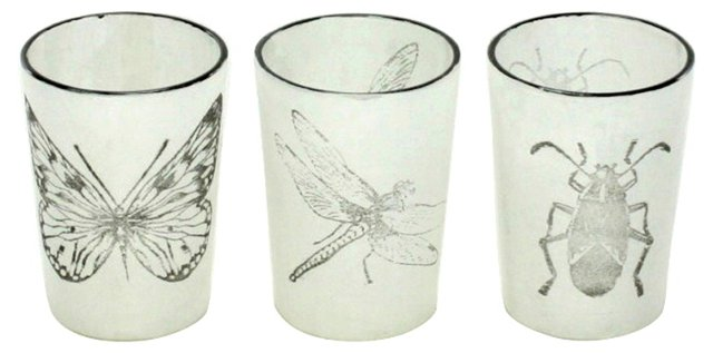 Asst. of 6 Stamped Insect Votives, White
