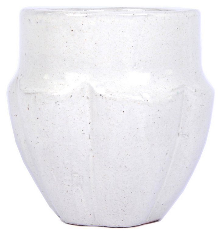 "8"" Earthenware Vase, White"