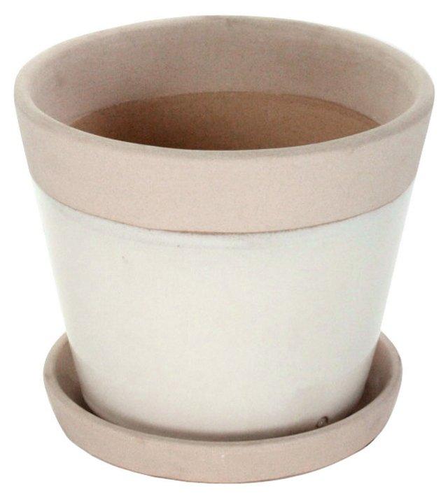 "7.5"" Ceramic Cachepot, White"