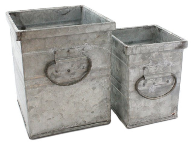 Asst. of 2 Galvanized Containers, Silver