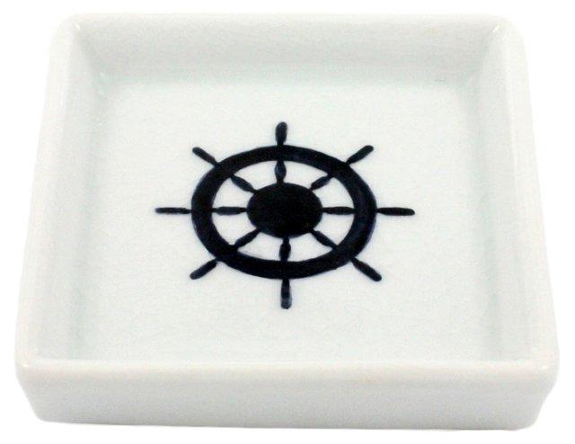 Oceania Ceramic Wheel Tray, White