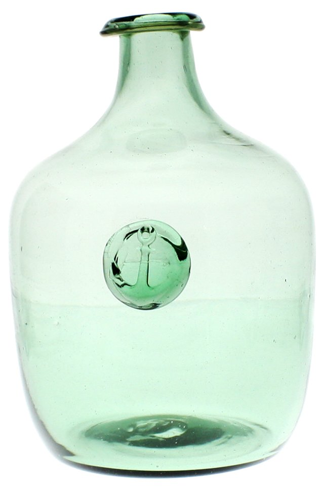 "7"" Glass Anchor Bottle, Green"
