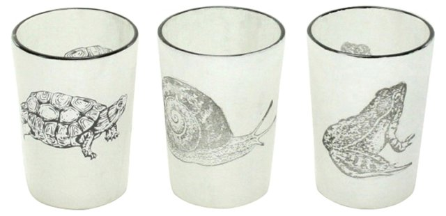 Asst. of 6 Stamped Animal Votives, White