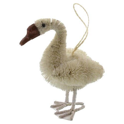"""5"""" Swan Bottle-Brush Ornament, Ivory"""