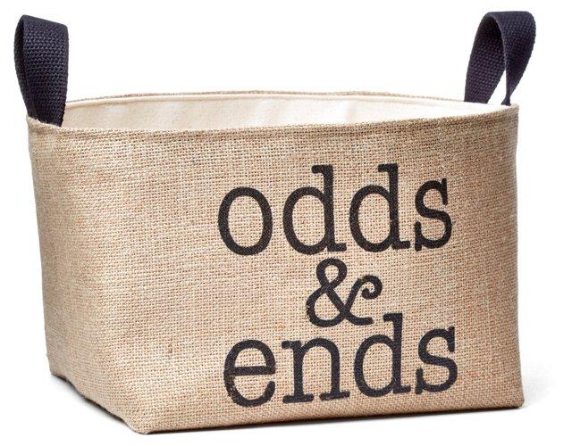 """Printed Burlap """"Odds & Ends"""" Bin"""