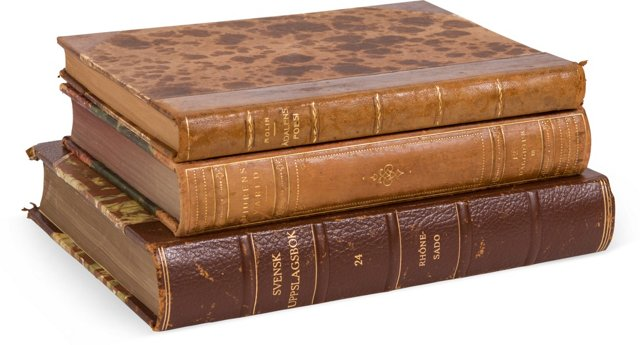 Vintage Leather Books, Set of 3