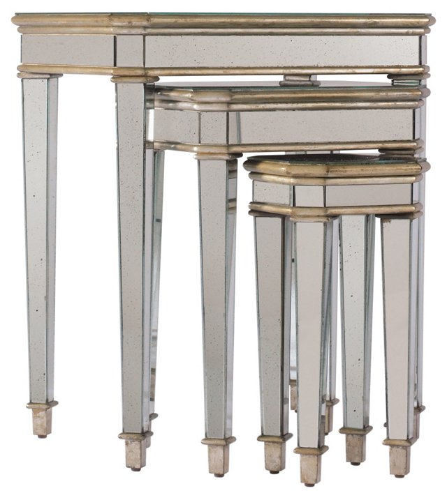 Hallie Mirrored Nesting Tables, Set of 3