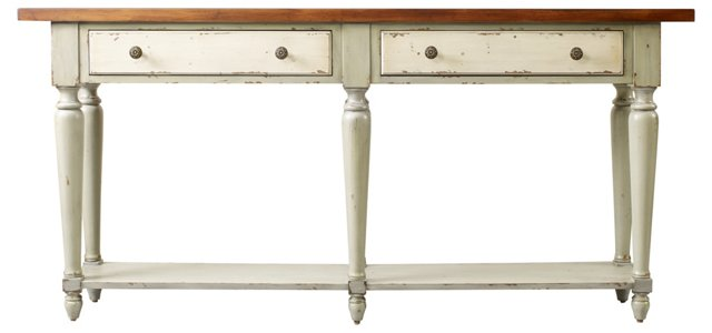 "Alexander 72"" Console Table, Sage/Russet"