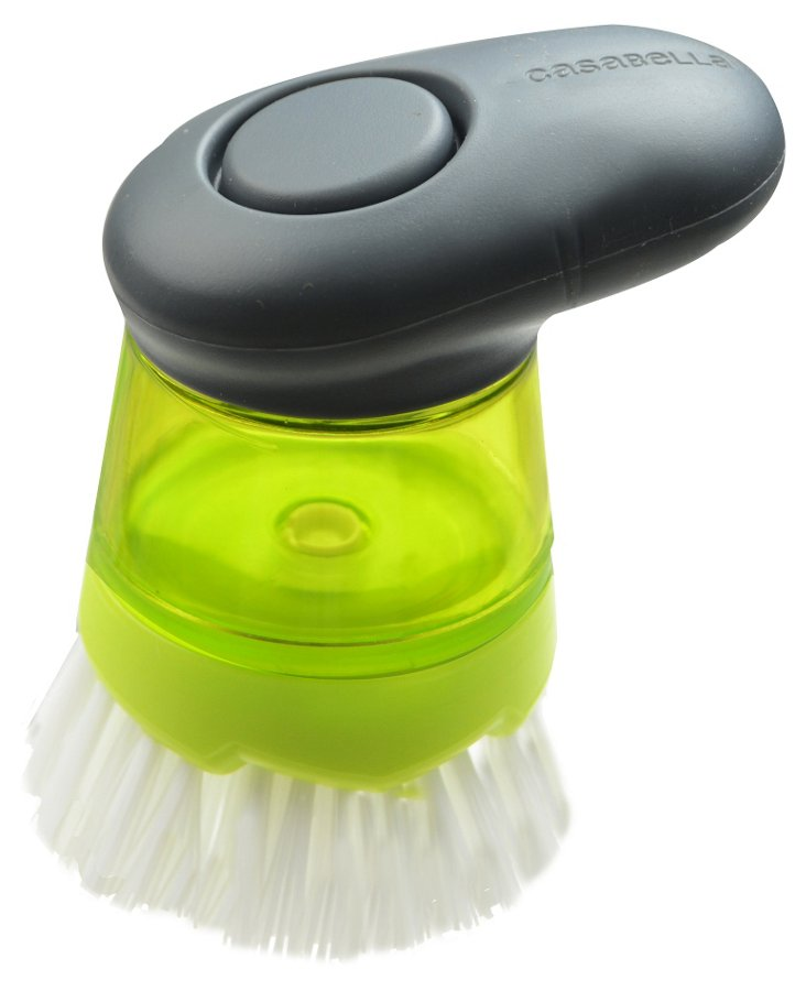 S/2 Soap Dispensing Palm Dish Brushes
