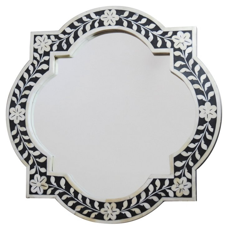 Delta Bone Accent Mirror, Black/Ivory