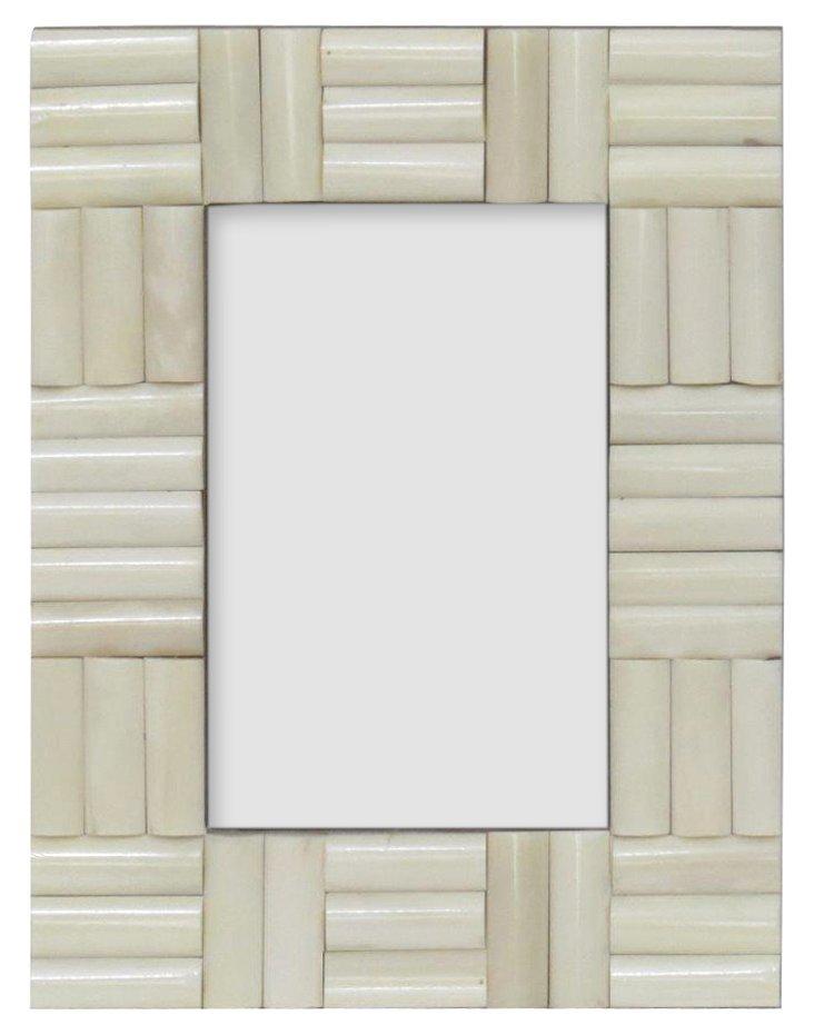 White Bone Inlay Frame, Set of 2