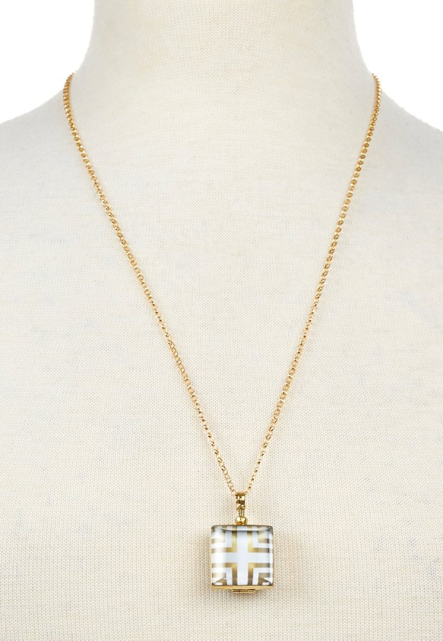 "3/4"" Brass Square Locket, 24"" Chain"
