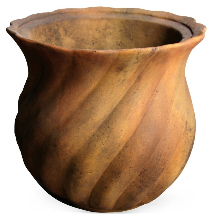 "13"" Swirly Pot, Sandstone"