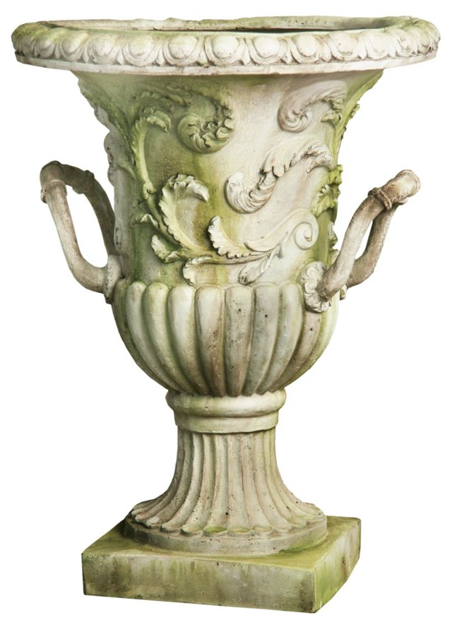 """30"""" Entryway Urn, White Moss"""