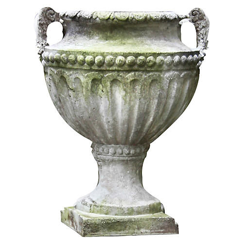 "18"" Fluted & Beaded Urn, White Moss"