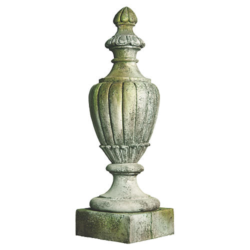"36"" Pershing Finial, White Moss"