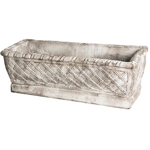 "24"" Weave Planter, Cathedral White"