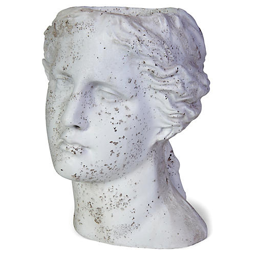 "14"" Demeter Outdoor Planter, Distressed Ivory"