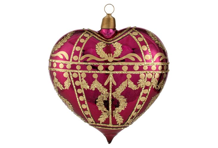 "5"" Heart Ornament, Maroon/Gold"