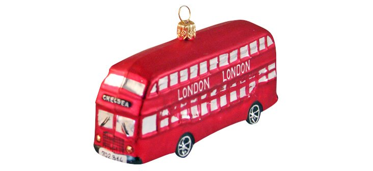 "5"" Glass London Bus Ornament"