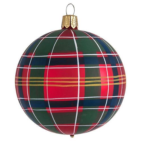 """3.5"""" Tartan Ornament, Red"""