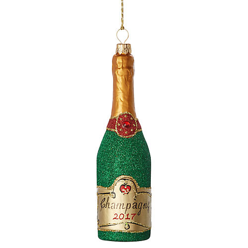Champagne Ornament, Green/Gold