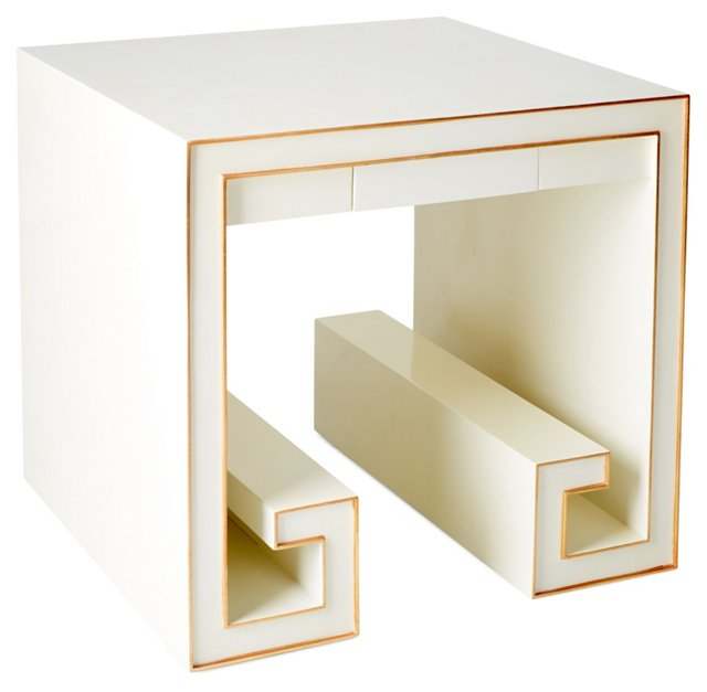Kate Side Table, White/Gold