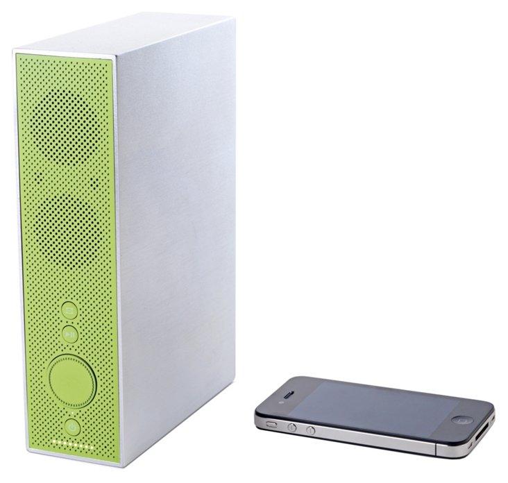 Aluminum Bluetooth Speaker, White/Green