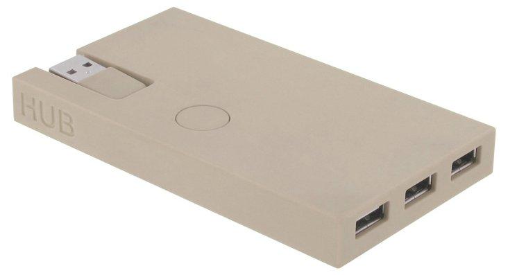 Rubber USB Hub, Gray