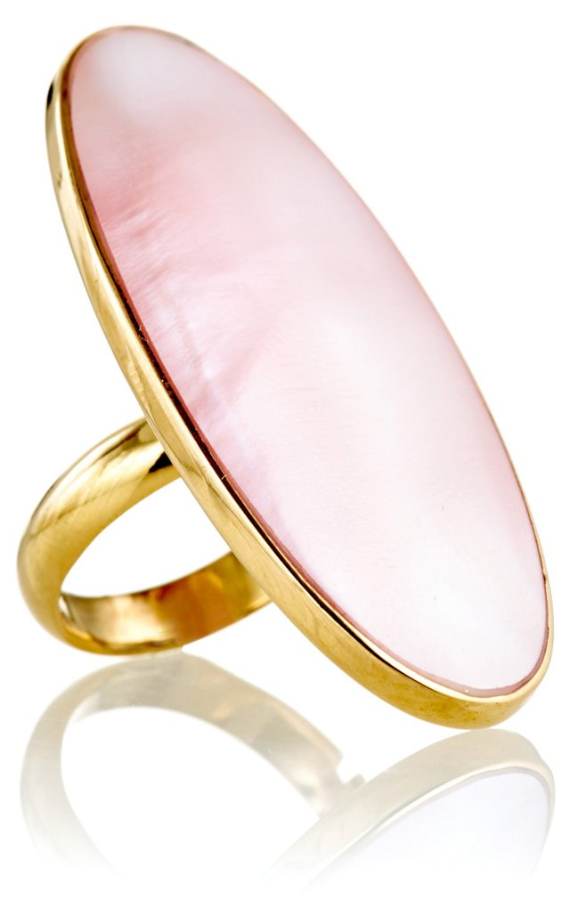 Natural Pink Shell Long Oval Ring