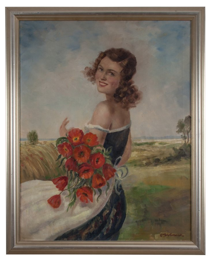 Oil Painting, Lady w/ Red Roses