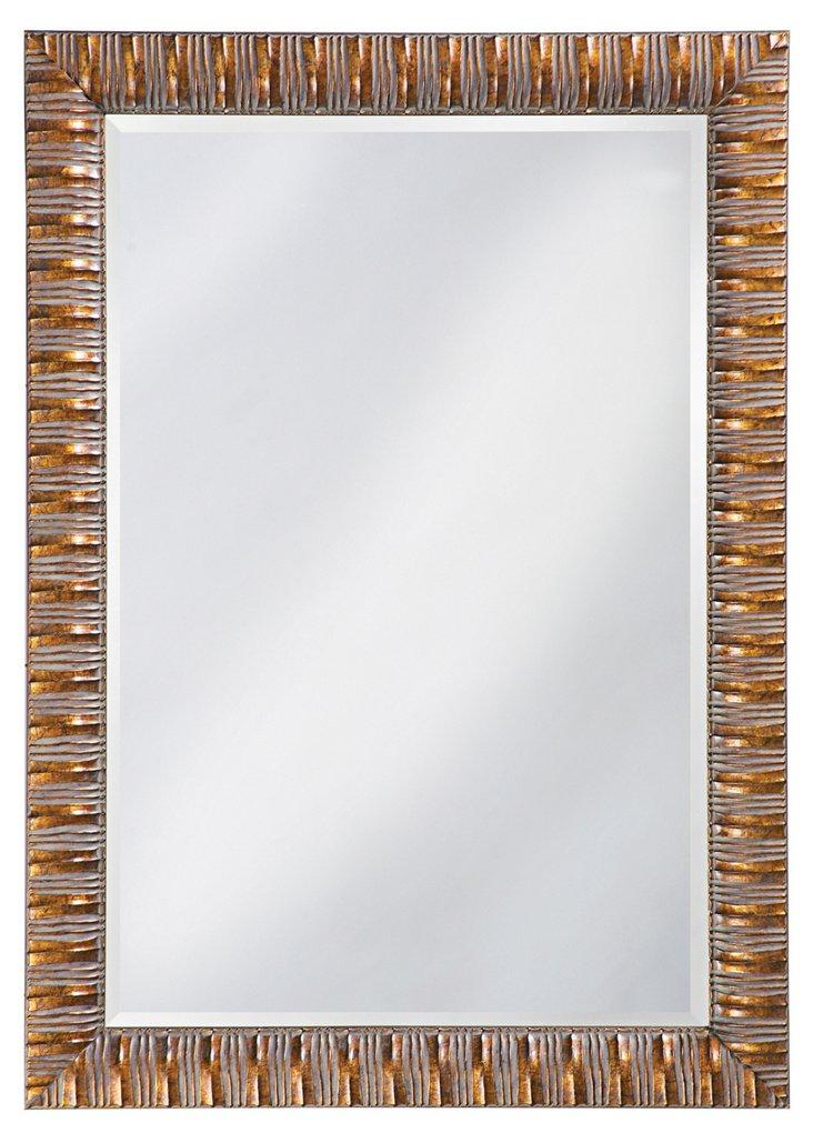 Antique Bronze Ribbed Mirror