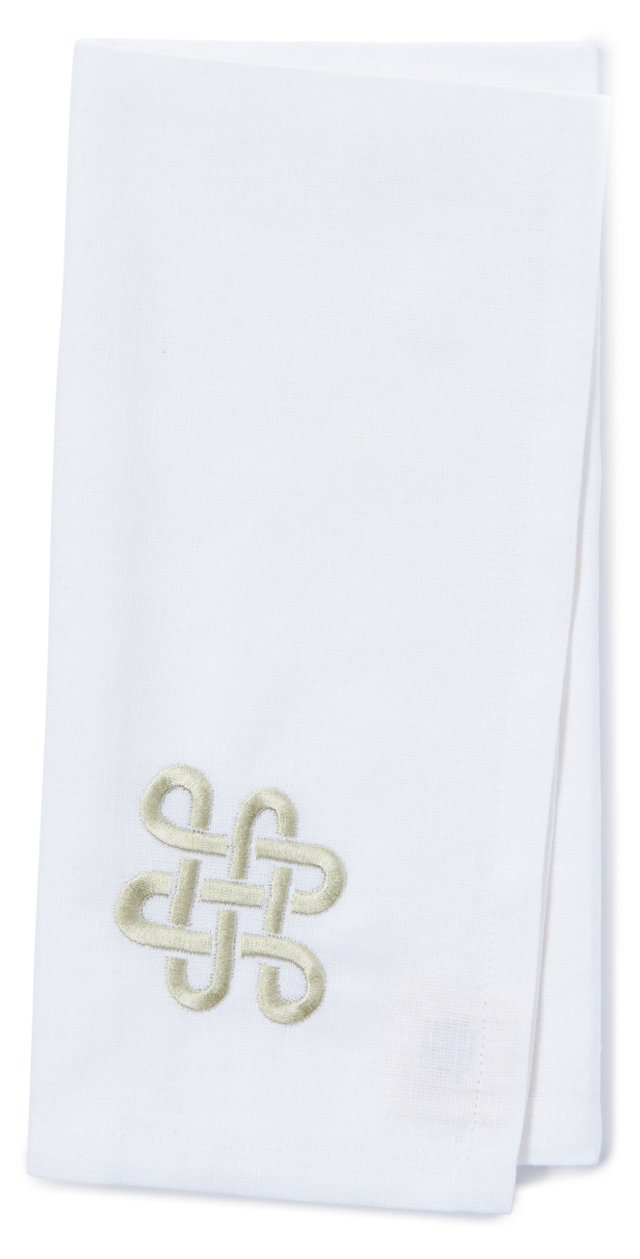 S/4 Embroidered Knot Solid Napkins