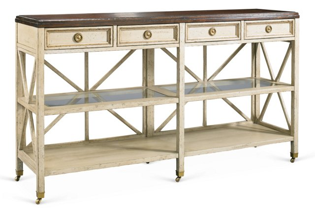 """Edward 60"""" Console, Antiqued White/Brown"""