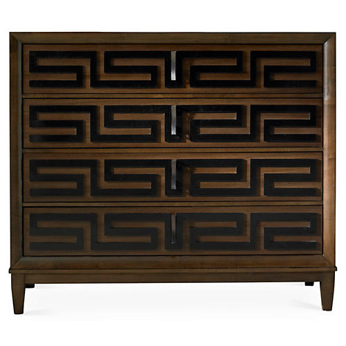 Classic Modern Greek Key Dresser, Brown. Hickory White