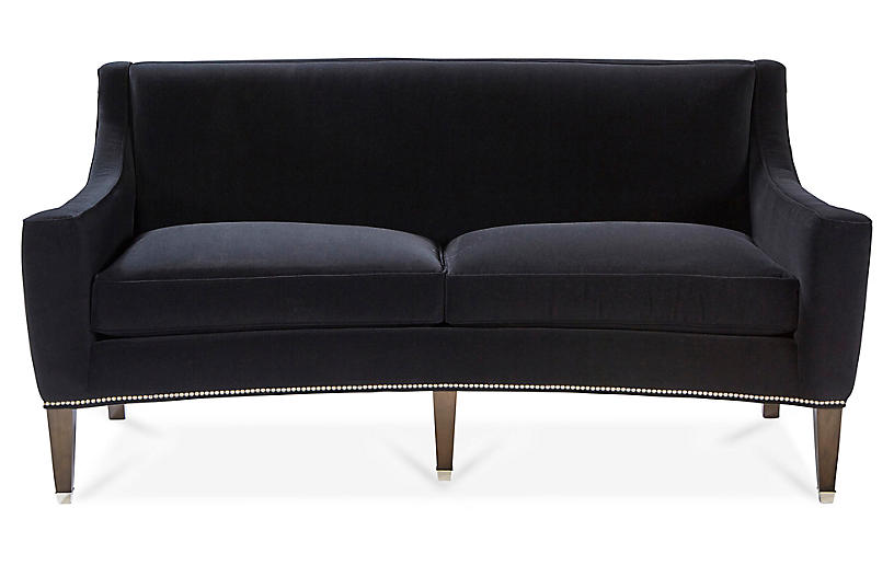 Larch Sofa, Black Velvet