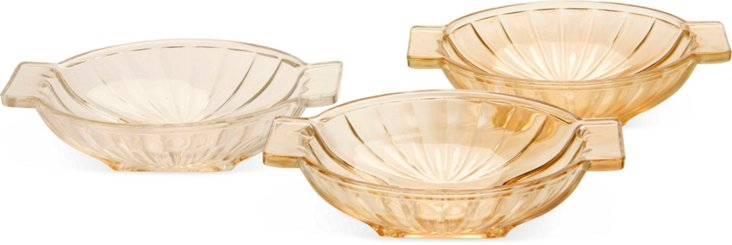 Pressed Glass Serving Dishes, Set of 3