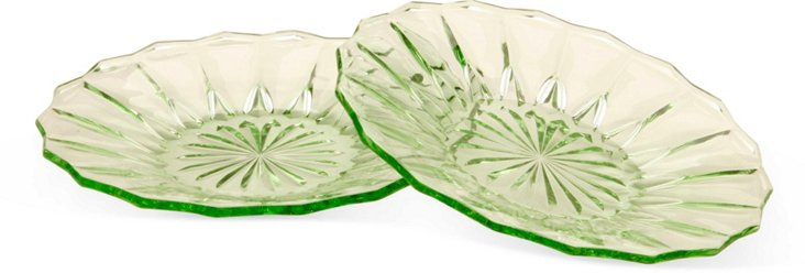 Green Glass Serving Plates, Pair