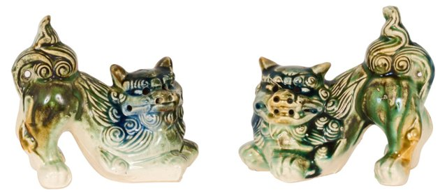 Green & Blue Foo Dogs, Pair