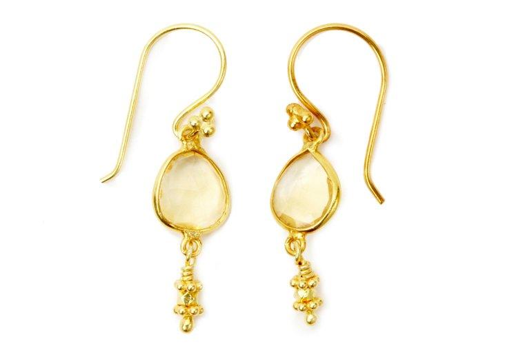 Juicy Drop Earrings, Gold Citrine